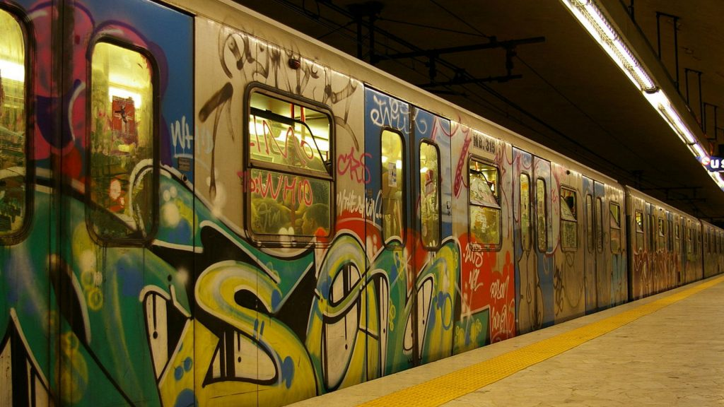 Graffiti on a train during 1970s.